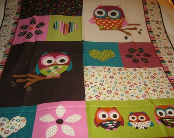 Beautiful, Colorful Owl, Flowers, and Hearts Cotton Quilt Panel to Make Your Own Quilt-OOP