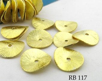 12mm Gold Tone Potato Chip Beads Wavy Disk Brushed Gold (RB 117) 12 pcs BlueEchoBeads