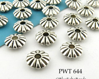 8mm Pewter Small Flower Spacer Saucer Beads, Antique Silver (PWT 644) 15 pcs BlueEchoBeads