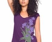 Clearance Sale Iris flowers t-shirt, Women's Purple t-shirt, Purple Iris, Spring Fashion, Short Sleeved, Hand Printed, Gift for Her