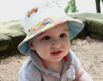Baby boy sun blocking hat, bucket sun hat, uv protection with brim, reversible, cute cotton prints for kids