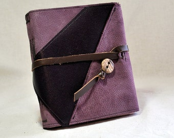 NEW Purple Leather Journal with Pink Paper