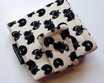 bibi bifold pocket wallet - with long pocket for money- BLACK PEARL metal snap closure