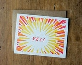 YES! explosion letterpress card