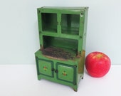1940s Small Toy Step-Back Cupboard, Green Metal, Two Cabinet Doors with Tiny Red and Yellow Flowers