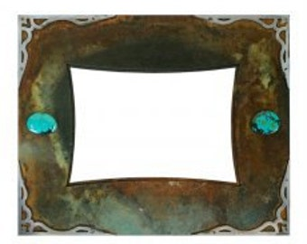 Rustic Iron Picture Frame - Turquoise and Brushed