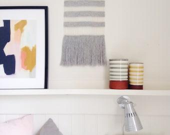 Modern Weaving, Weaving, Wallhanging, Woven Wall Hanging, Grey, Silk, Linen