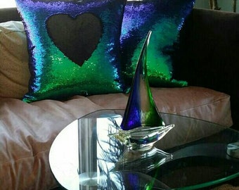 Luxury Sequin Mermaid Pillow Color Shift Down Pillow
