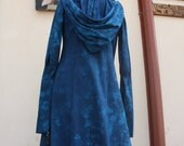 Hand dyed blue hooded Selene Jacket size small