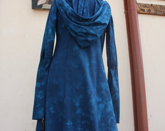 Hand dyed blue hooded Selene Jacket size small