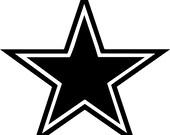 Star Decal Vinyl Outlined Star Sticker Dallas Cowboy Star Sticker Wall Art Dallas Cowboy Decal Football Logo