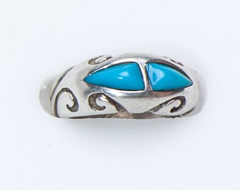 Southwestern Turquoise Ring - Vintage Sterling - sz 6 1/2