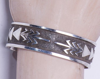 Hopi Sterling Overlay Cuff - Vasquez
