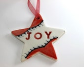 Red and White Star Joy Christmas Tree Ornament