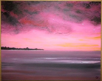 Jewel toned beach painting, serene pink sunset, tranquil beach, Beachcomber series/6, Original Painting 16x20