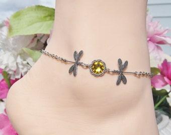 Silver Anklets Dragonfly Anklet Ankle Bracelets Swarovski Crystal Beach Jewelry Women's Anklets