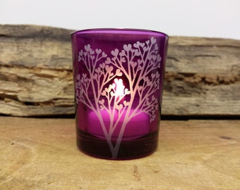 Purple 'Tree Of Love' Engraved Glass Candle Holder Wedding Favors Fathers Day