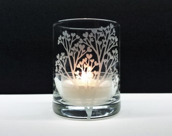 1 'Tree Of Love' Engraved Glass Votive Holder Wedding Favors Reception Candles