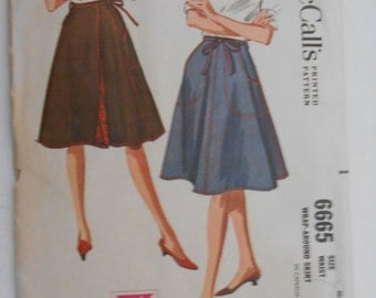 Vintage 60s Wrap Around Skirt Pattern McCalls 6665 Size Medium 14 16 Waist 26 28 UNCUT