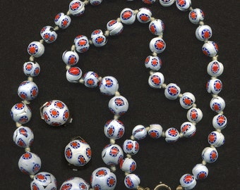 "Vintage Venetian Millefiori 24"" Graduated Bead Necklace & 15mm Earrings of Red, White, Blue Star Canes"