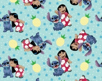 Lilo & Stitch Ohana Family Disney cotton woven fabric by the yard