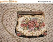 GBYE SUMMER SALE Petite Point Purse Floral Garden Party