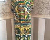 Vintage 60s Psychedelic Print Dress with Scarf S