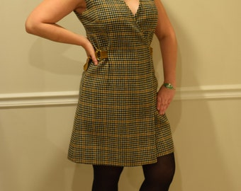 Vintage 60's BOE JESTS hounds tooth wrap dress size 12