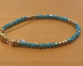 Turquoise color and Gold Beaded Bracelet