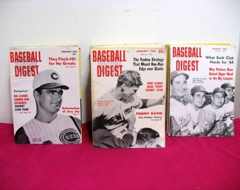 Vintage Lot Baseball Digest Magaizine 1962 - 1964 21 Issues Mantle Drysdale Kaline Downing Maris etc. Sports Mags