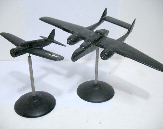 WW2 Spotter ID Recognition Airplane Models, 2 Vintage WWII P-61 Black Widow & OS2U-1 w/ Stands Desk Top Model Airplanes