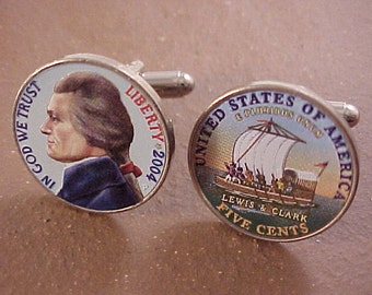 Colorized Jefferson Nickel Design Cuff Links - Free Shipping to USA