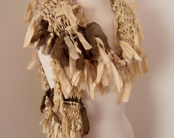 recycled silk  ivory off white cream boho chic little tattered scarf   handknitted by plumfish