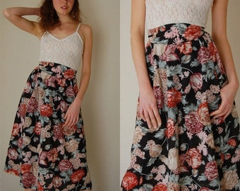 SALE SALE Prairie Skirt Vintage Quilted Botanical High Waist Prairie Boho Midi Skirt (xs s)