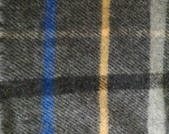 Vintage Gray Plaid Pendleton Wool Blanket Throw (50x69)