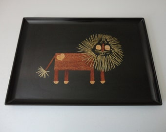 VINTAGE couroc of monterey LION TRAY