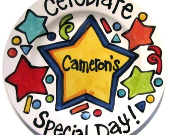 "CUSTOM Large 10"" Celebrate your child's special day birthday or accomplishment plate stars"