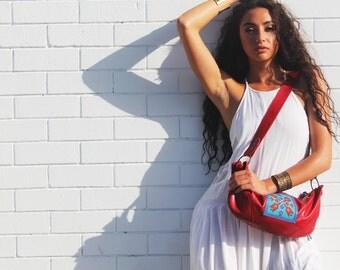 Xoco Indie Red Leather Boho Handbag
