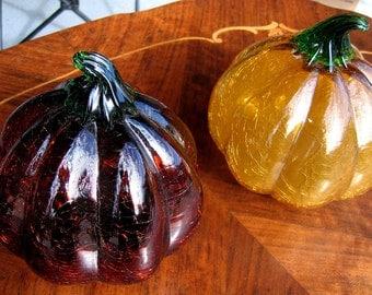 2 Large Glass Pumpkin s Halloween, Thanksgiving Decor, Decorations, Crackle Glass
