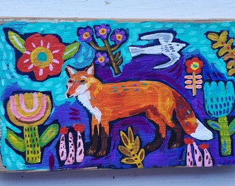 Woodland Fox Painting on Wood Ready to Hang