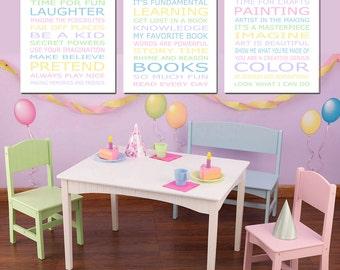 Pastel Playroom Decor Art Playroom Rules PLAY READ CREATE Set - Kids Wall Art - Set of Three 8x10 Nursery Art Prints - Choose Your Colors