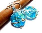 Beach Earrings Ocean Sea Glass Wave Aqua Handmade Sterling SIlver Beach Jewelry Seaglass Sandy Pearl Vacation Lake