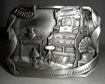 Vintage 1985 Kansas Auctioneers Association Belt Buckle Limited Edition Antique Furniture