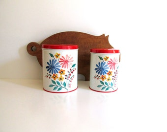 Vintage Kitchen Canisters Tins Floral Red Lid 1950's Kitchen Colorware