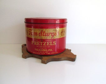 Large Vintage Tom Sturgis Pretzel Tin Red Yellow Two Lb. Metal Tin Reading, Pennsylvania