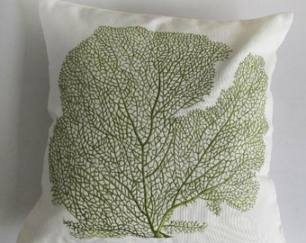 olive green coral fan pillow   sea themed, embroidered coral fan on offwhite coastal inspired pillow. custom  made 20  inches