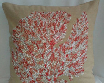 Red and white coral fan Pillow , Beige Pillow,  Sea theme pillow cover. nautical pillow, 16x16 inche throw pillow.