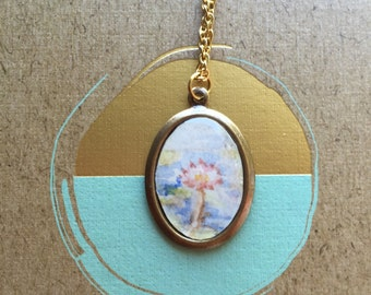 Aurora Lotus Hand-Painted Miniature Pendant Necklace Original Painting