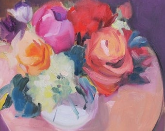 Impressionistic flower oil painting, Roses and Mixed Bouquet-hydrangeas and tulips - free domestic shipping - gallery wrapped canvas