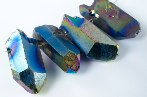 Black Rainbow Fumed Quartz Prism Nuggets Daggers Spike Stick Beads